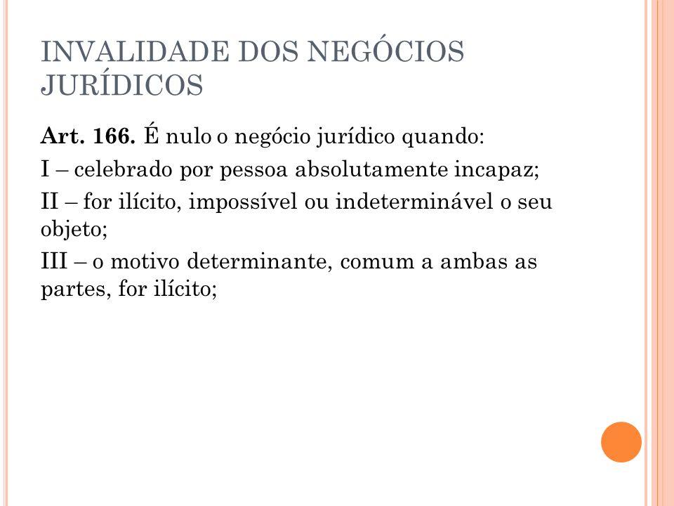 INVALIDADE DOS NEGÓCIOS JURÍDICOS Art.166.