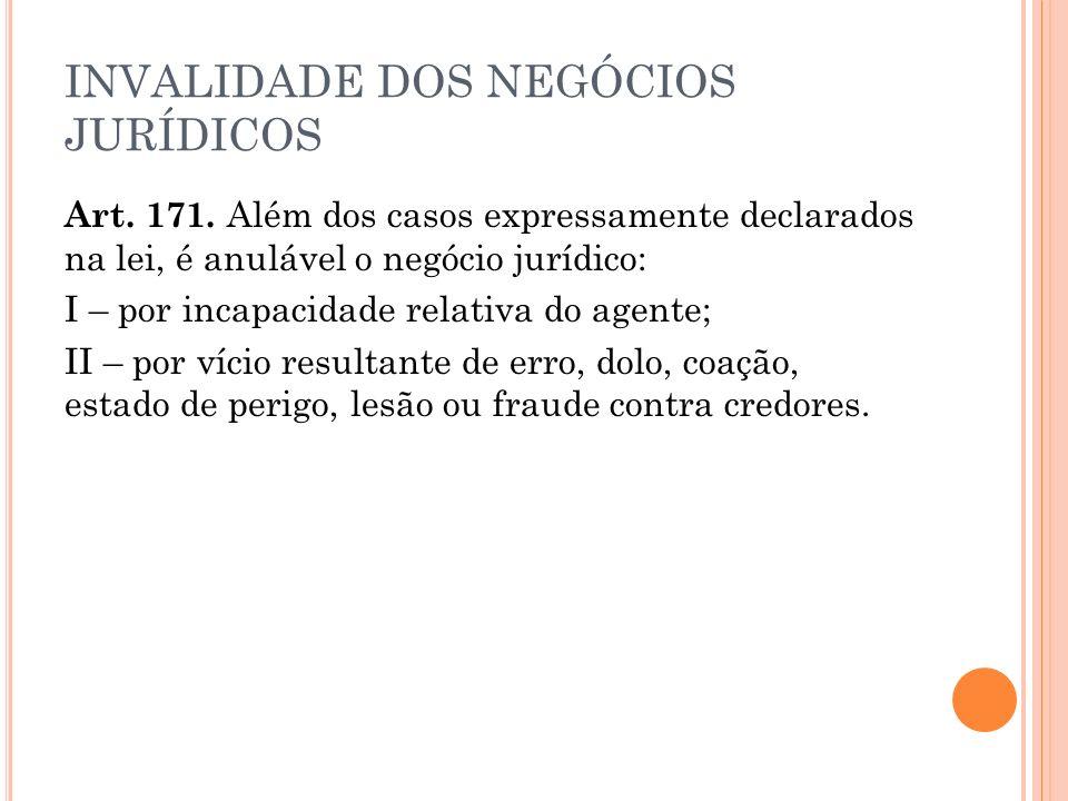 INVALIDADE DOS NEGÓCIOS JURÍDICOS Art.171.