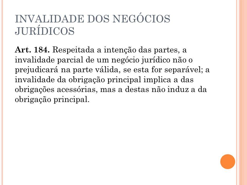 INVALIDADE DOS NEGÓCIOS JURÍDICOS Art.184.