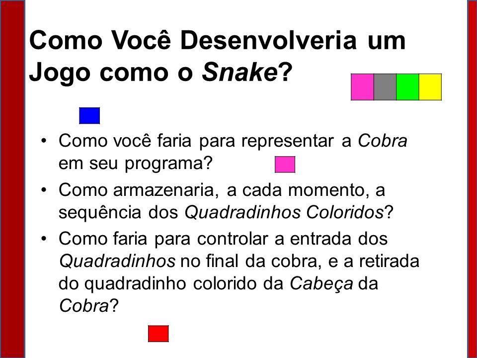 Como Você Desenvolveria um Jogo como o Snake? Como você faria para representar a Cobra em seu programa? Como armazenaria, a cada momento, a sequência