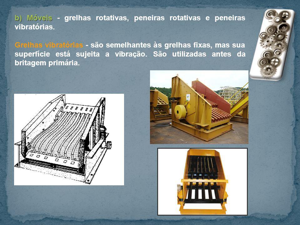 b)Móveis b) Móveis - grelhas rotativas, peneiras rotativas e peneiras vibratórias. Grelhas vibratórias - são semelhantes às grelhas fixas, mas sua sup