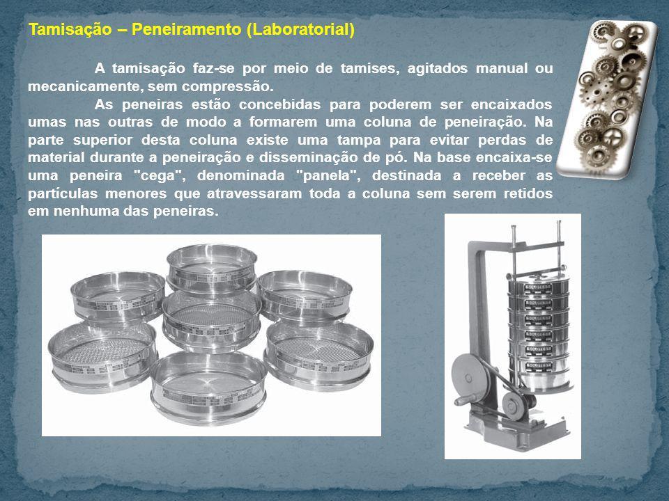 Tamisação – Peneiramento (Laboratorial) A tamisação faz-se por meio de tamises, agitados manual ou mecanicamente, sem compressão. As peneiras estão co