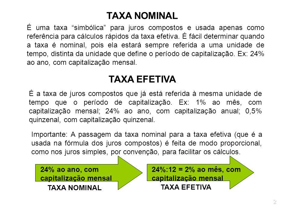 2 TAXA NOMINAL É uma taxa simbólica para juros compostos e usada apenas como referência para cálculos rápidos da taxa efetiva. É fácil determinar quan