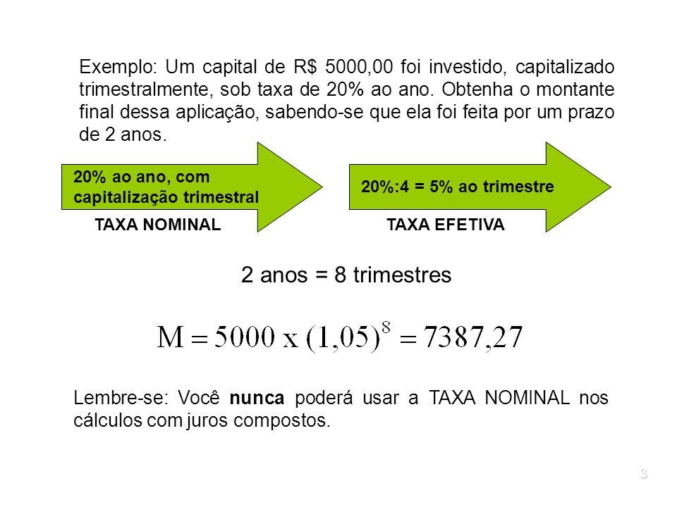 3 Exemplo: Um capital de R$ 5000,00 foi investido, capitalizado trimestralmente, sob taxa de 20% ao ano. Obtenha o montante final dessa aplicação, sab