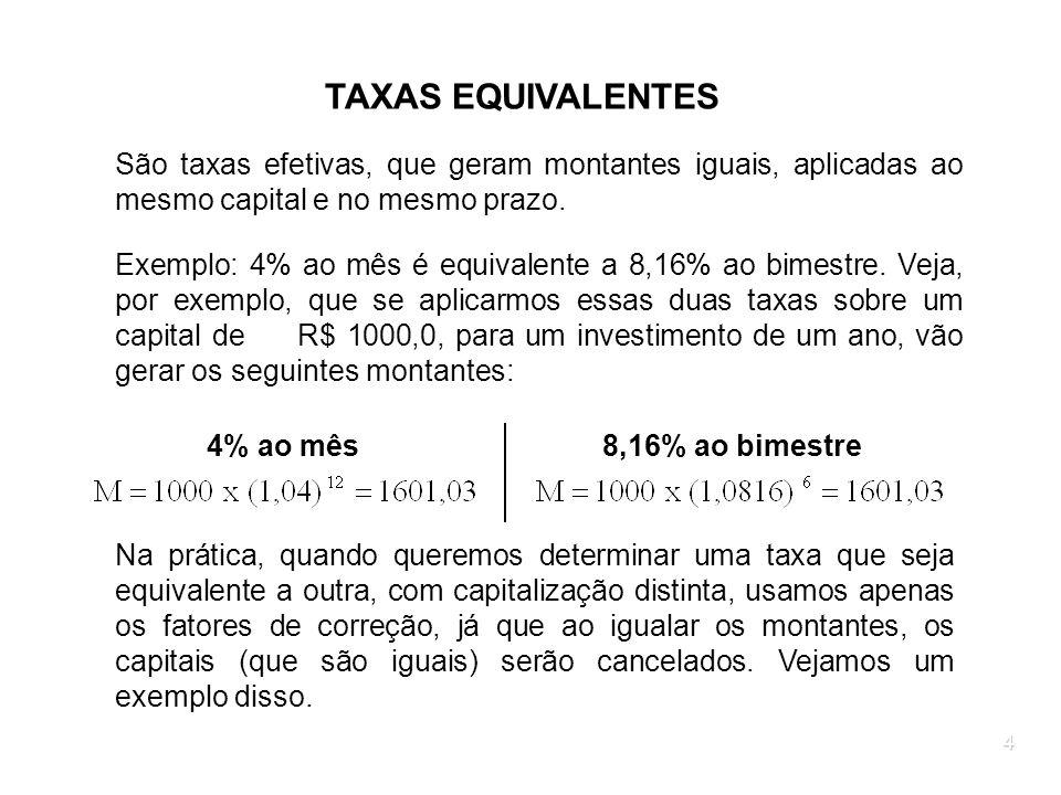4 TAXAS EQUIVALENTES São taxas efetivas, que geram montantes iguais, aplicadas ao mesmo capital e no mesmo prazo. Exemplo: 4% ao mês é equivalente a 8