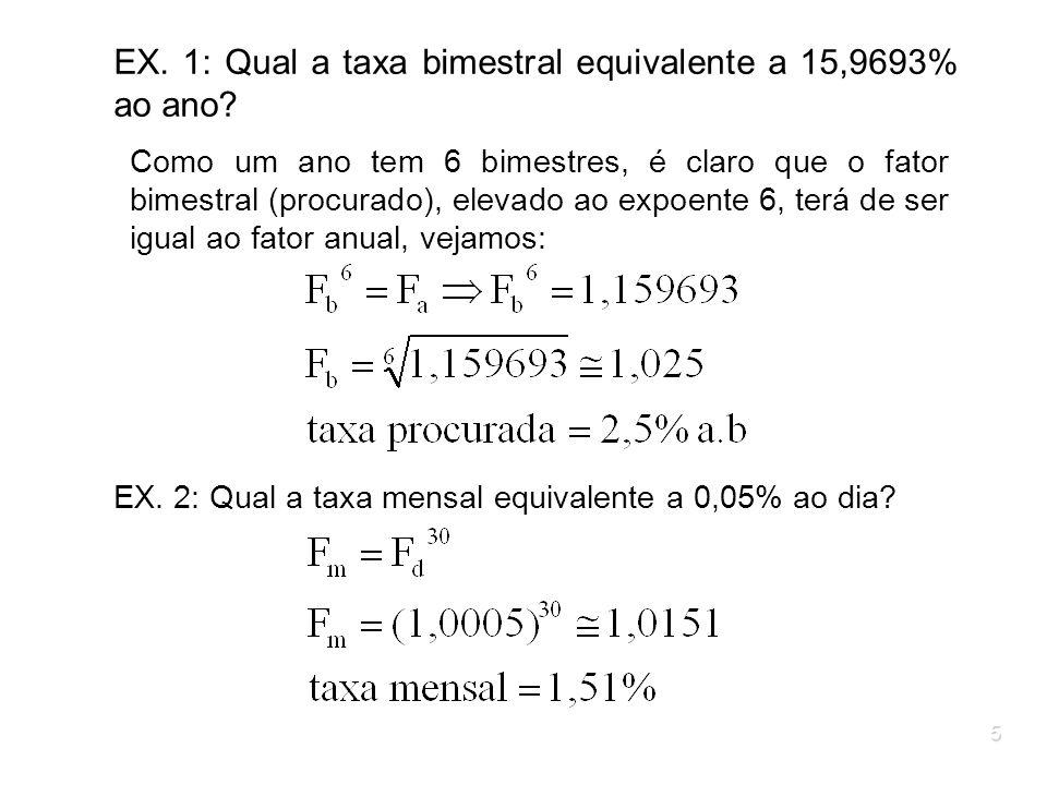 5 EX. 1: Qual a taxa bimestral equivalente a 15,9693% ao ano? Como um ano tem 6 bimestres, é claro que o fator bimestral (procurado), elevado ao expoe