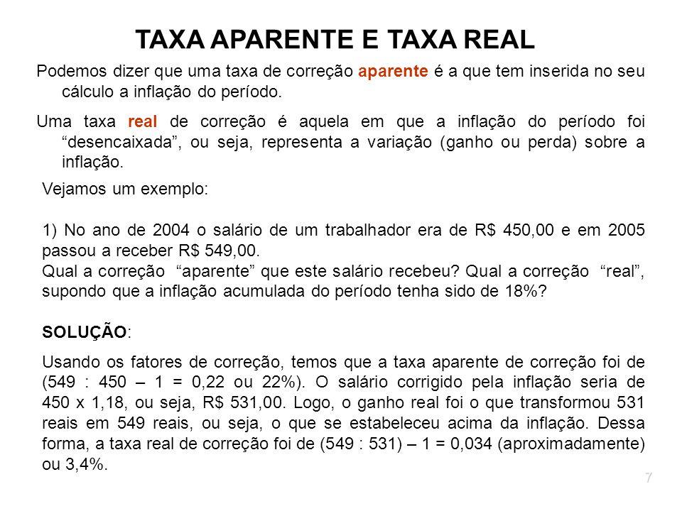 7 TAXA APARENTE E TAXA REAL Podemos dizer que uma taxa de correção aparente é a que tem inserida no seu cálculo a inflação do período. Uma taxa real d