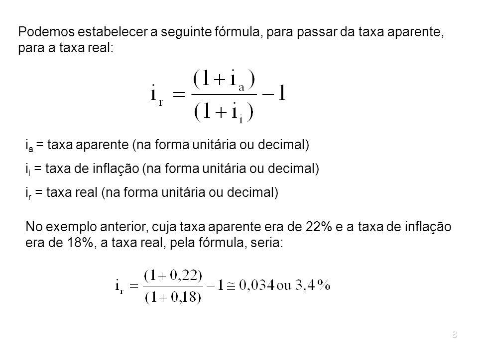 8 Podemos estabelecer a seguinte fórmula, para passar da taxa aparente, para a taxa real: i a = taxa aparente (na forma unitária ou decimal) i i = tax