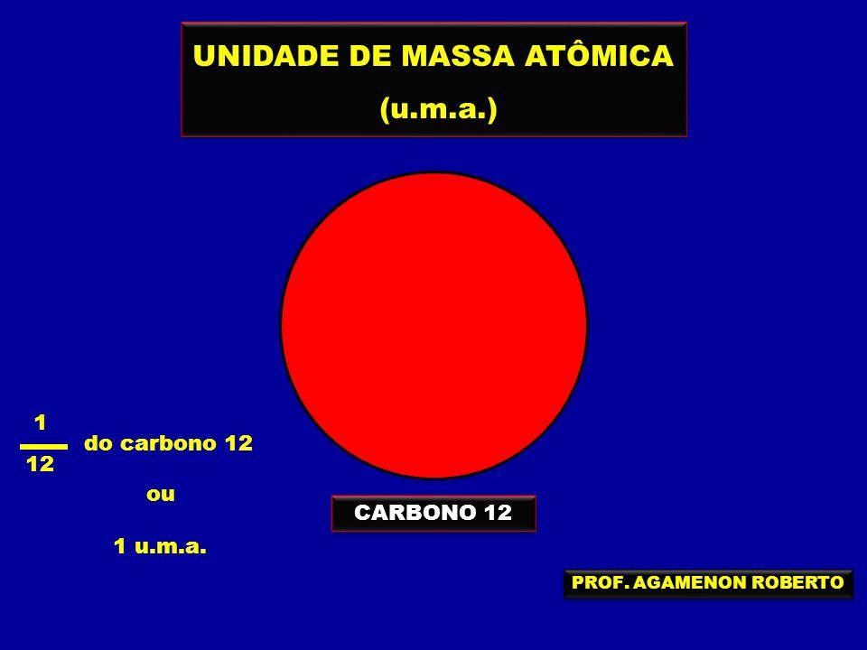UNIDADE DE MASSA ATÔMICA (u.m.a.) UNIDADE DE MASSA ATÔMICA (u.m.a.) CARBONO 12 1 12 do carbono 12 ou 1 u.m.a. PROF. AGAMENON ROBERTO