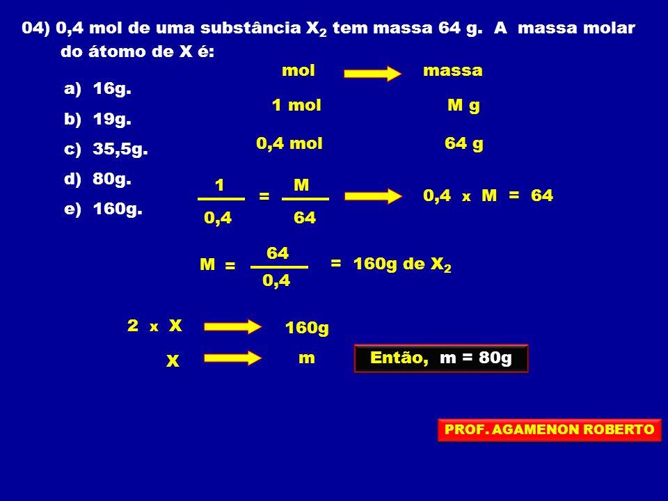 04) 0,4 mol de uma substância X 2 tem massa 64 g. A massa molar do átomo de X é: a) 16g. b) 19g. c) 35,5g. d) 80g. e) 160g. molmassa 1 molM g 0,4 mol6