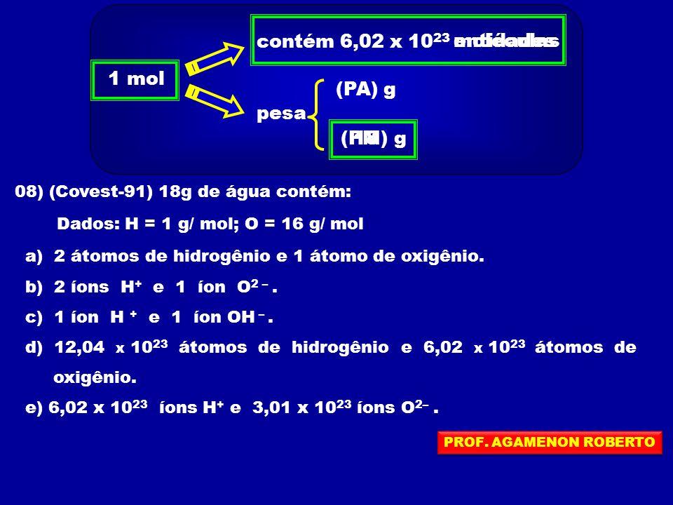 1 mol contém 6,02 x 10 23 pesa (PA) (PM)g g entidadesmoléculas 08) (Covest-91) 18g de água contém: Dados: H = 1 g/ mol; O = 16 g/ mol a) 2 átomos de hidrogênio e 1 átomo de oxigênio.