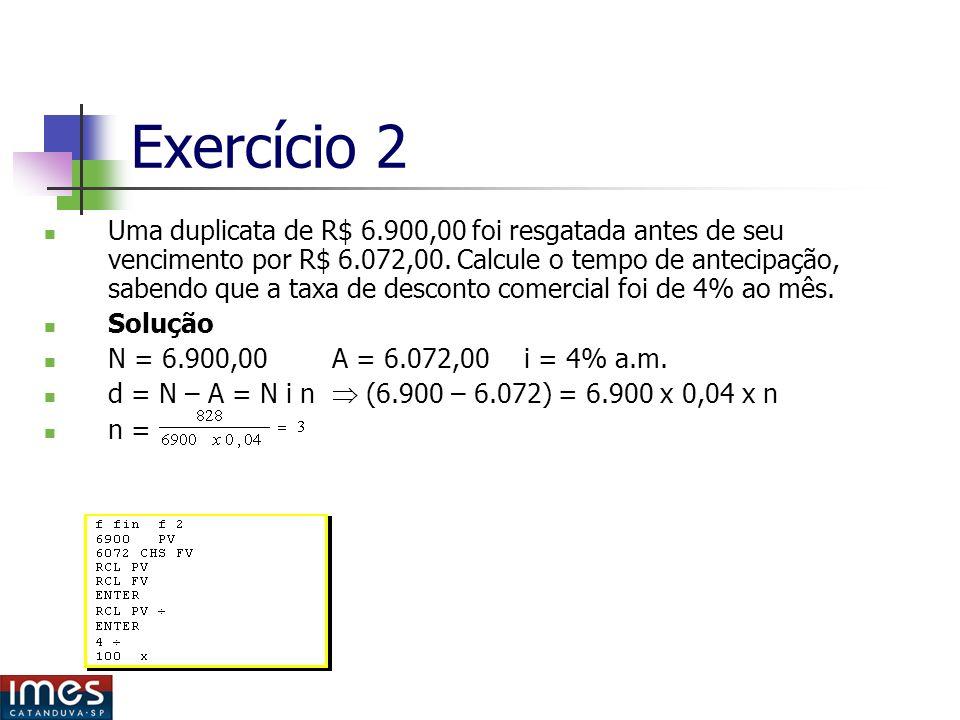 Exercício 2 Uma duplicata de R$ 6.900,00 foi resgatada antes de seu vencimento por R$ 6.072,00.