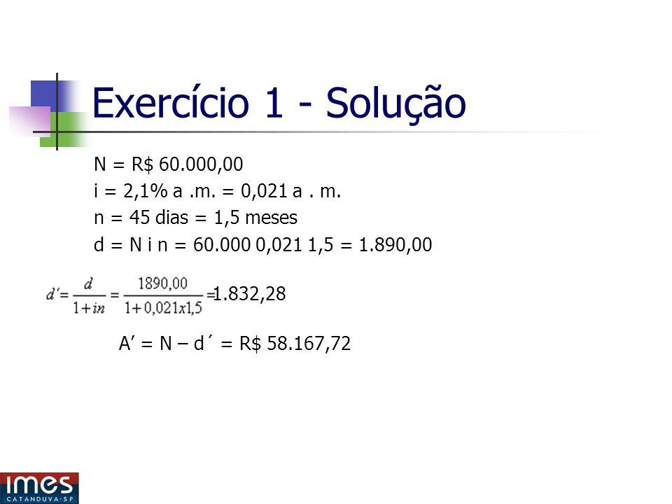 Exercício 1 - Solução N = R$ 60.000,00 i = 2,1% a.m.