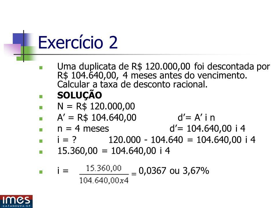Exercício 2 Uma duplicata de R$ 120.000,00 foi descontada por R$ 104.640,00, 4 meses antes do vencimento.