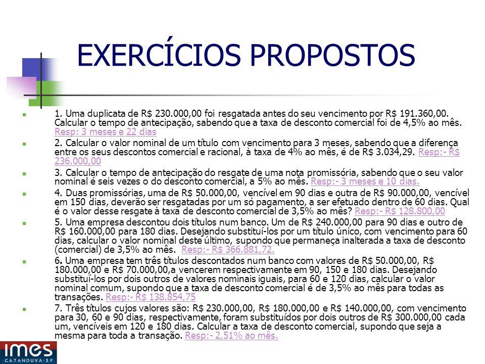 EXERCÍCIOS PROPOSTOS 1.