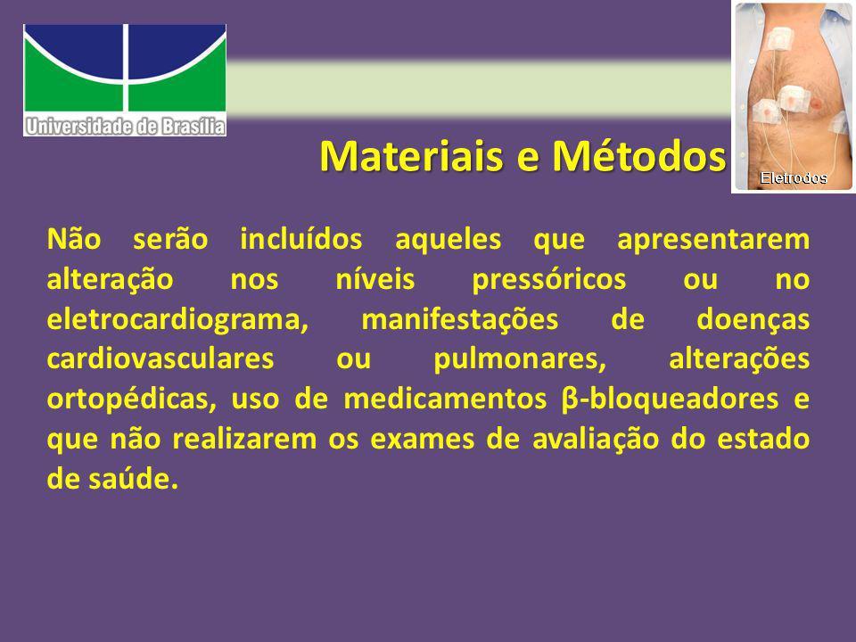 Materiais e Métodos Não serão incluídos aqueles que apresentarem alteração nos níveis pressóricos ou no eletrocardiograma, manifestações de doenças ca