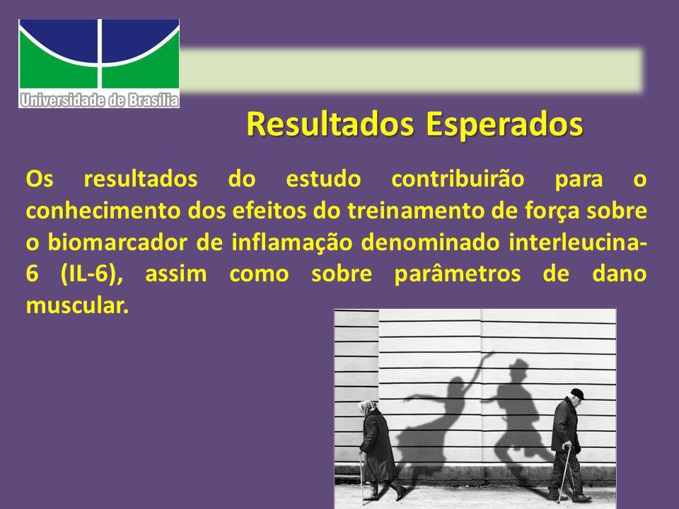 Resultados Esperados Os resultados do estudo contribuirão para o conhecimento dos efeitos do treinamento de força sobre o biomarcador de inflamação de