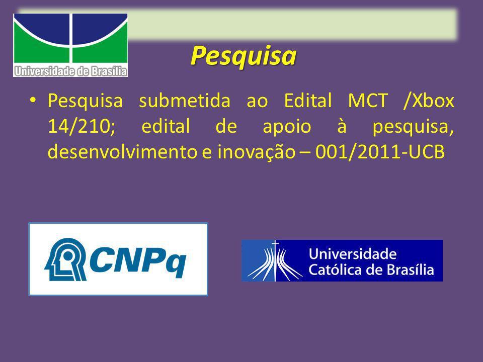 Pesquisa Pesquisa submetida ao Edital MCT /Xbox 14/210; edital de apoio à pesquisa, desenvolvimento e inovação – 001/2011-UCB