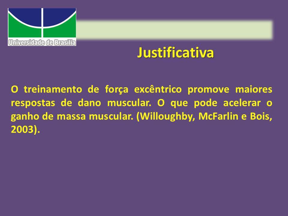 Justificativa O treinamento de força excêntrico promove maiores respostas de dano muscular. O que pode acelerar o ganho de massa muscular. (Willoughby