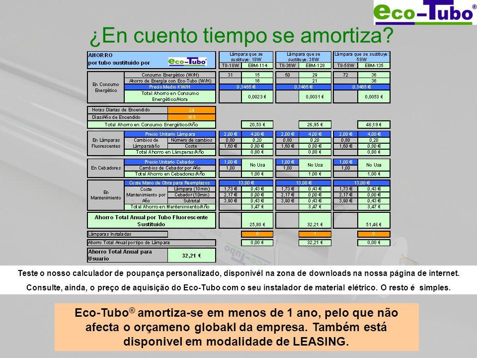 ¿En cuento tiempo se amortiza? Eco-Tubo ® amortiza-se em menos de 1 ano, pelo que não afecta o orçameno globakl da empresa. Também está disponivel em