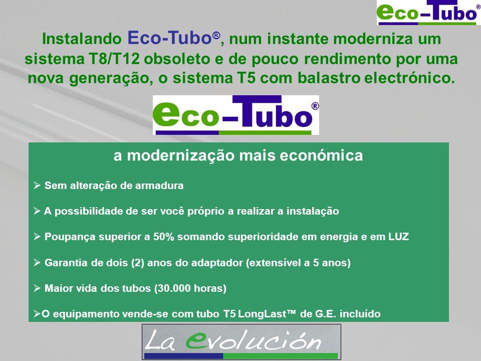 Instalando Eco-Tubo ®, num instante moderniza um sistema T8/T12 obsoleto e de pouco rendimento por uma nova generação, o sistema T5 com balastro elect
