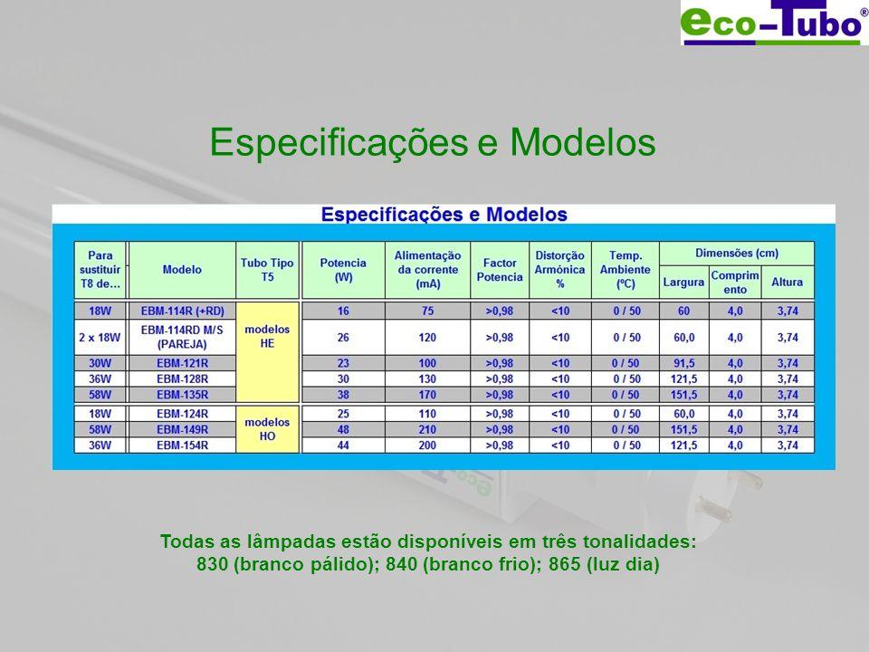 Especificações e Modelos Todas as lâmpadas estão disponíveis em três tonalidades: 830 (branco pálido); 840 (branco frio); 865 (luz dia)