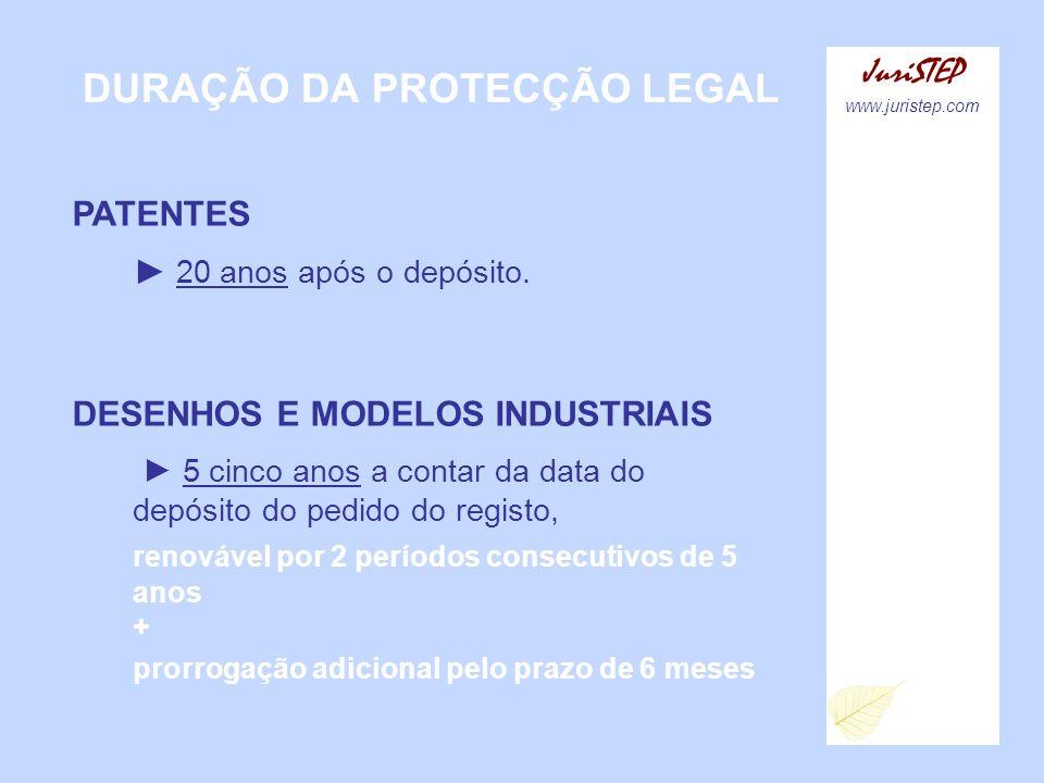 DURAÇÃO DA PROTECÇÃO LEGAL JuriSTEP www.juristep.com PATENTES 20 anos após o depósito. DESENHOS E MODELOS INDUSTRIAIS 5 cinco anos a contar da data do
