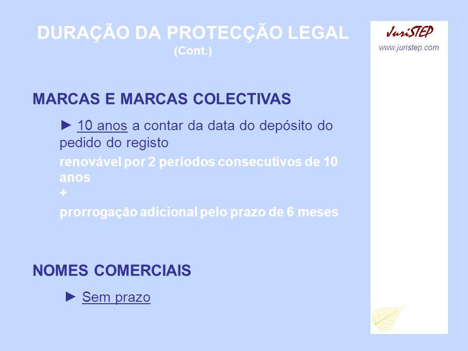 DURAÇÃO DA PROTECÇÃO LEGAL (Cont.) JuriSTEP www.juristep.com MARCAS E MARCAS COLECTIVAS 10 anos a contar da data do depósito do pedido do registo reno
