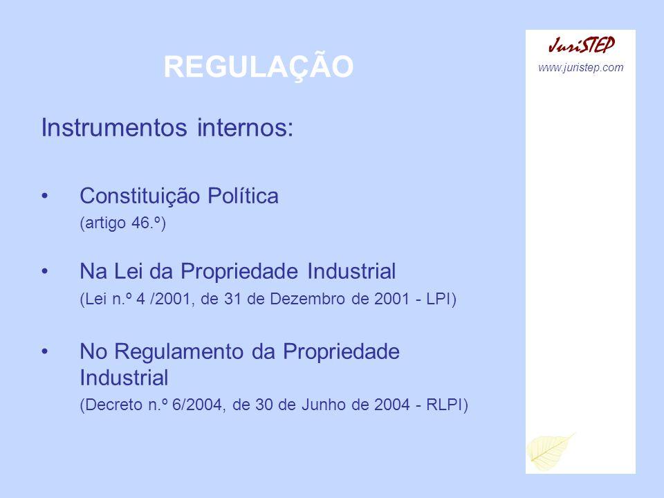 REGULAÇÃO JuriSTEP www.juristep.com Instrumentos internos: Constituição Política (artigo 46.º) Na Lei da Propriedade Industrial (Lei n.º 4 /2001, de 3