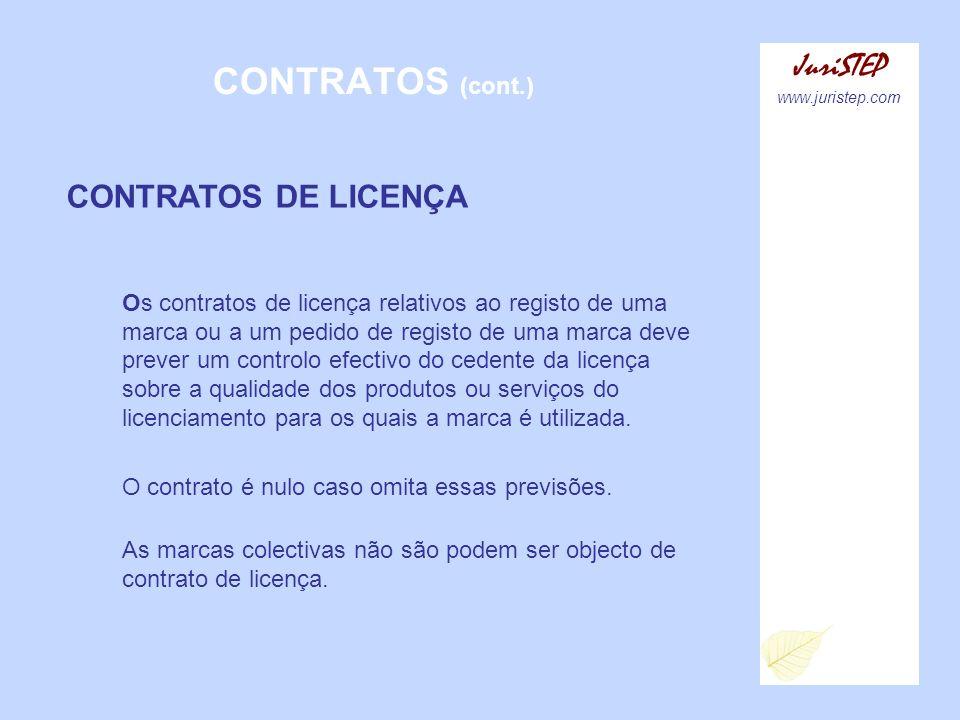 CONTRATOS (cont.) JuriSTEP www.juristep.com CONTRATOS DE LICENÇA Os contratos de licença relativos ao registo de uma marca ou a um pedido de registo d