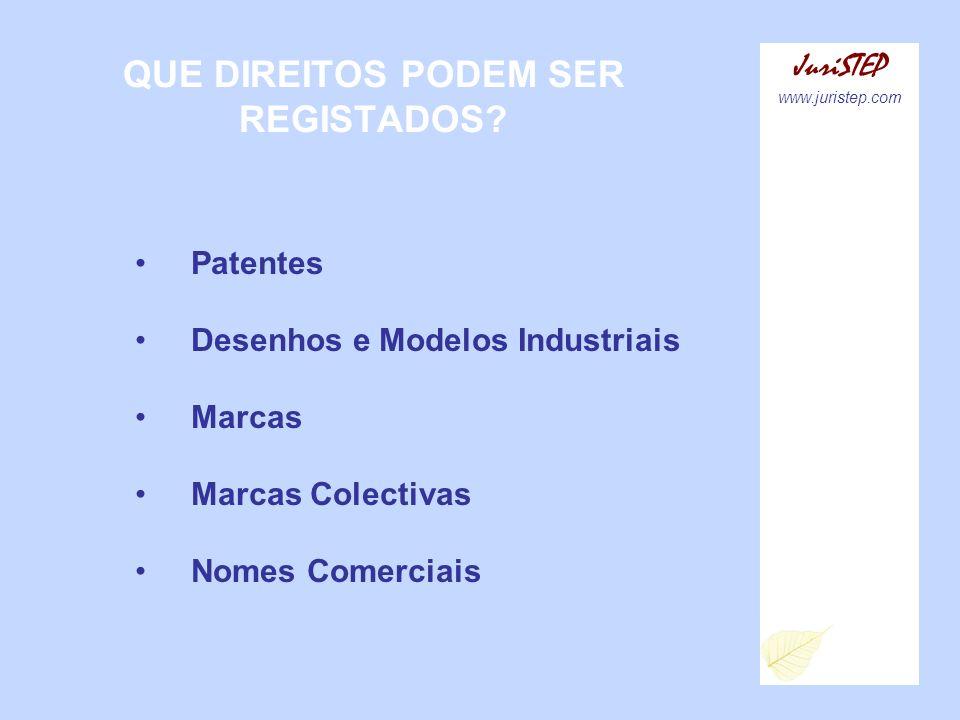QUE DIREITOS PODEM SER REGISTADOS? JuriSTEP www.juristep.com Patentes Desenhos e Modelos Industriais Marcas Marcas Colectivas Nomes Comerciais
