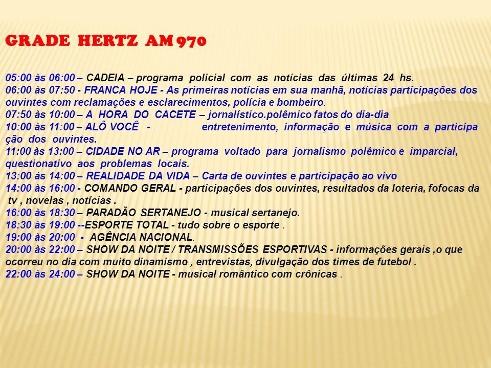 GRADE HERTZ AM 970 05:00 às 06:00 – CADEIA – programa policial com as notícias das últimas 24 hs. 06:00 às 07:50 - FRANCA HOJE - As primeiras notícias