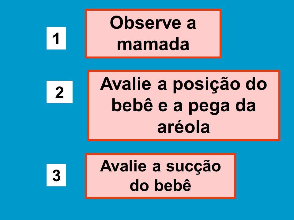 Observe a mamada 1 Avalie a posição do bebê e a pega da aréola 2 Avalie a sucção do bebê 3