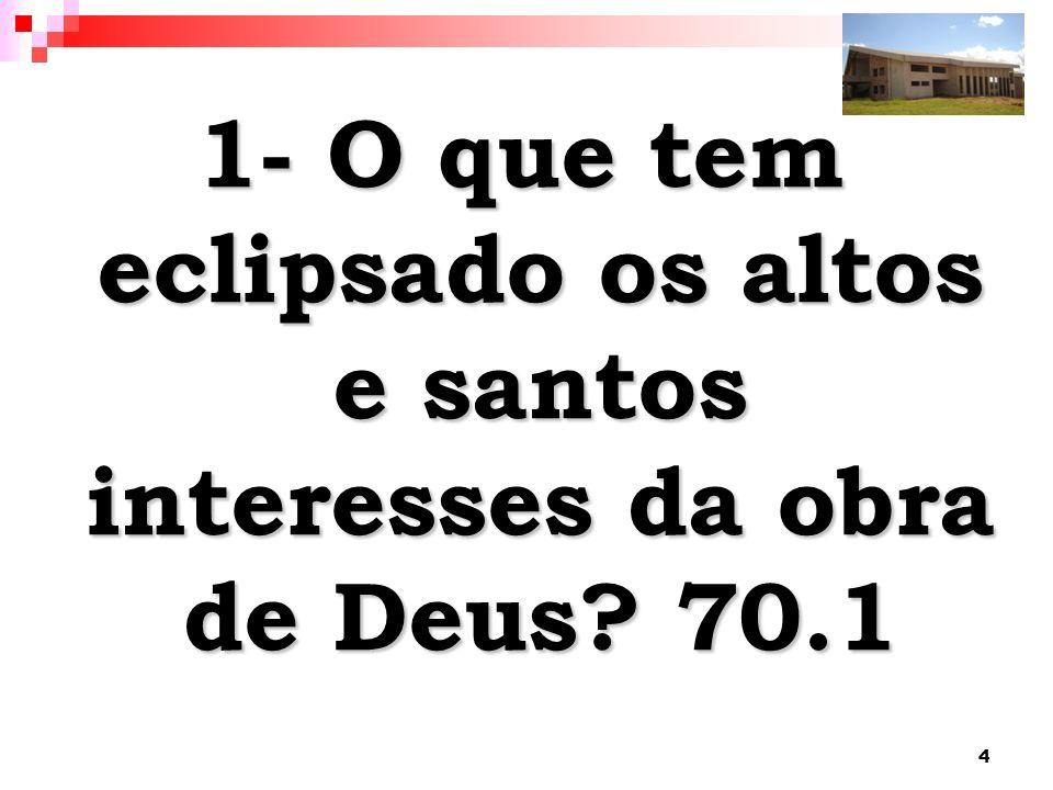 4 1- O que tem eclipsado os altos e santos interesses da obra de Deus? 70.1