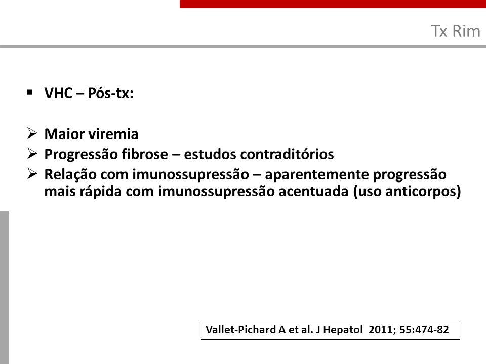 Tx Rim VHC – Pós-tx: Maior viremia Progressão fibrose – estudos contraditórios Relação com imunossupressão – aparentemente progressão mais rápida com