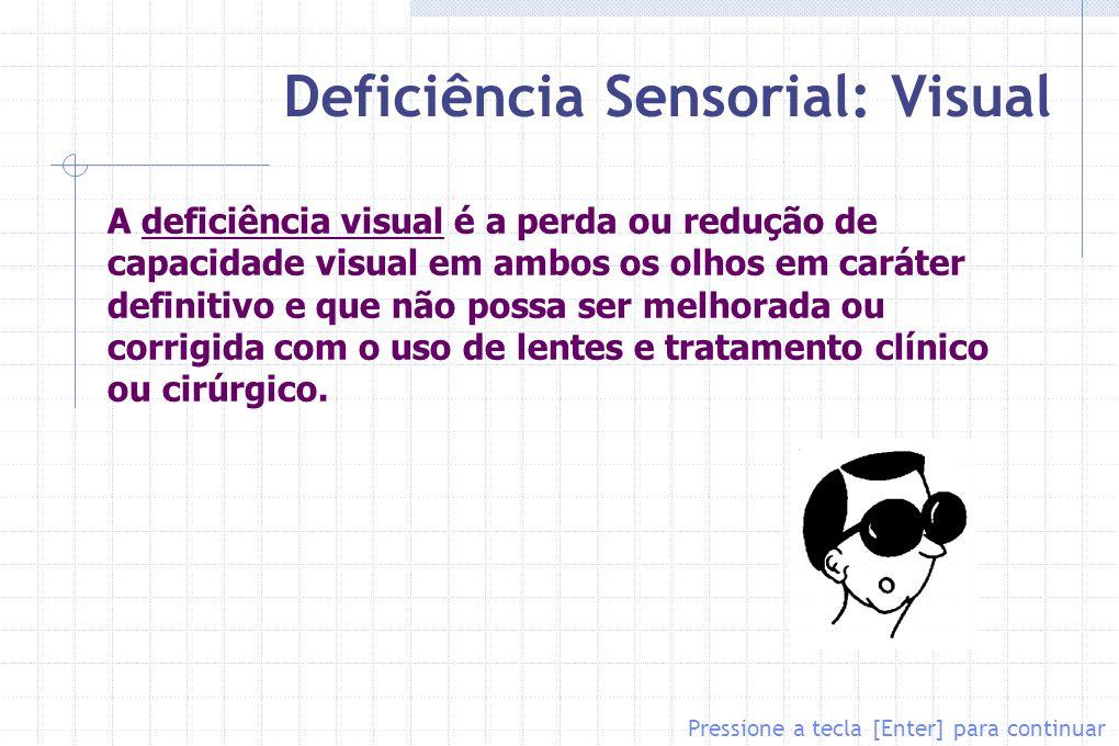 Deficiência Sensorial: Visual Pressione a tecla [Enter] para continuar A deficiência visual é a perda ou redução de capacidade visual em ambos os olho