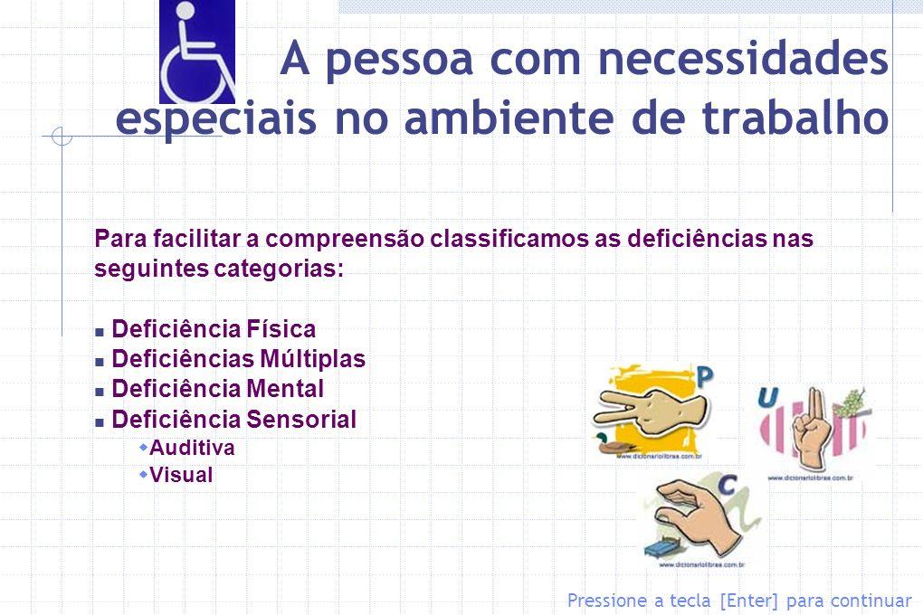 A pessoa com necessidades especiais no ambiente de trabalho Para facilitar a compreensão classificamos as deficiências nas seguintes categorias: Defic