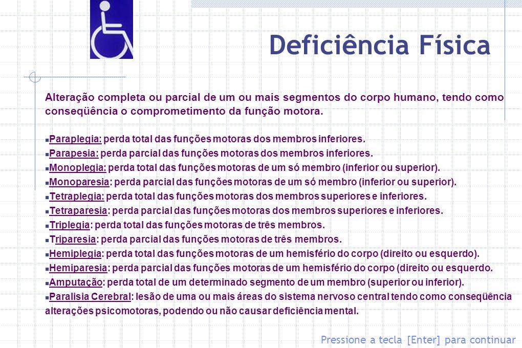 Deficiência Física Alteração completa ou parcial de um ou mais segmentos do corpo humano, tendo como conseqüência o comprometimento da função motora.