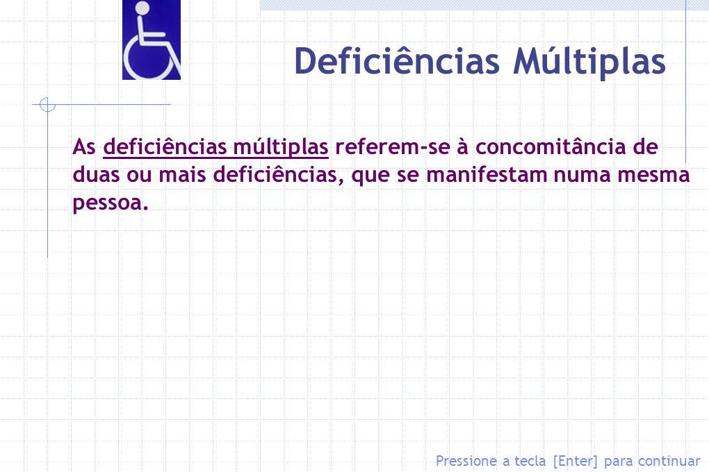 Deficiências Múltiplas As deficiências múltiplas referem-se à concomitância de duas ou mais deficiências, que se manifestam numa mesma pessoa. Pressio