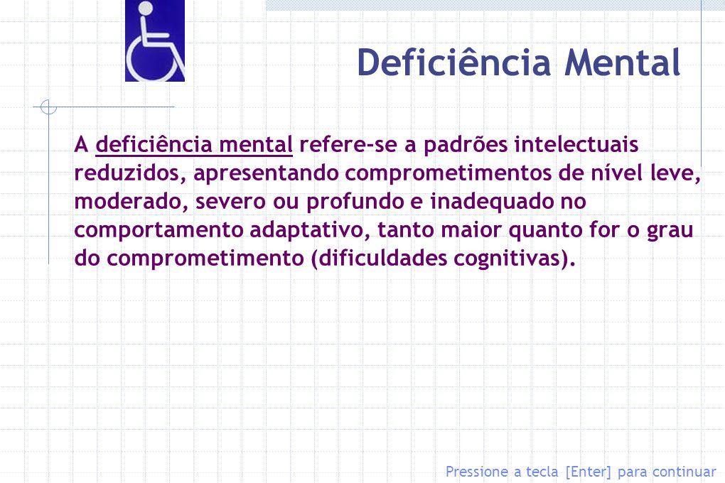 Deficiência Mental A deficiência mental refere-se a padrões intelectuais reduzidos, apresentando comprometimentos de nível leve, moderado, severo ou p