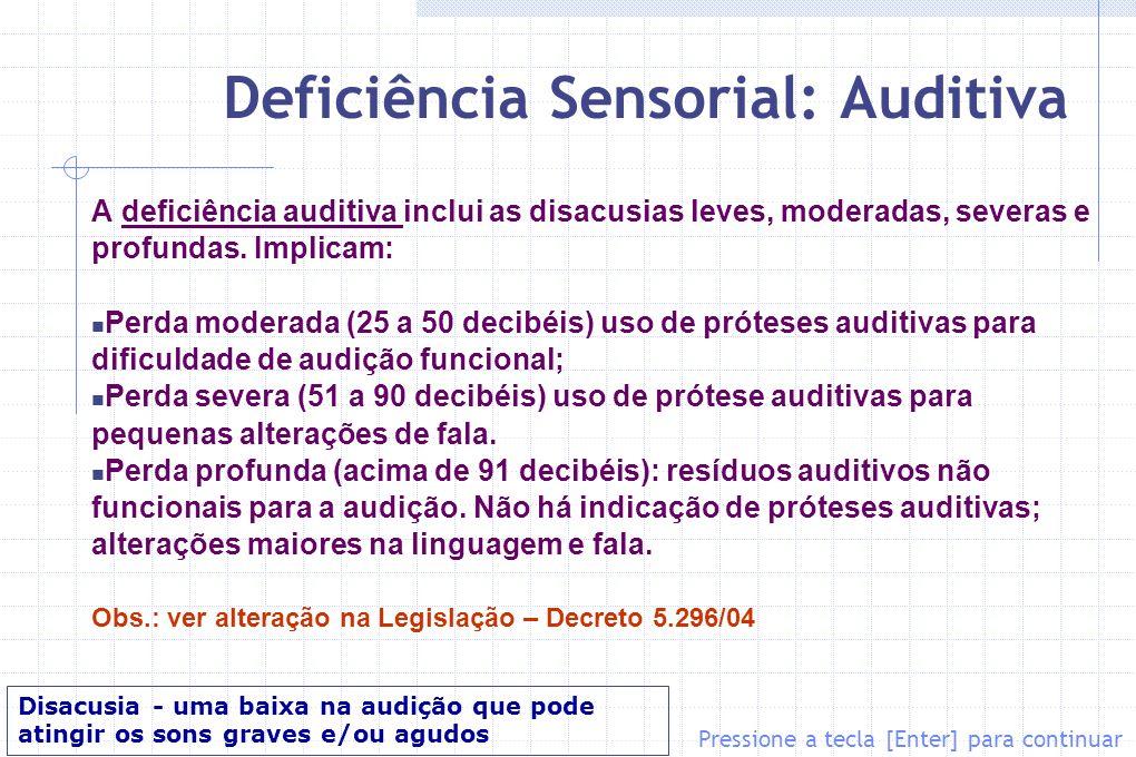 Deficiência Sensorial: Auditiva A deficiência auditiva inclui as disacusias leves, moderadas, severas e profundas. Implicam: Perda moderada (25 a 50 d