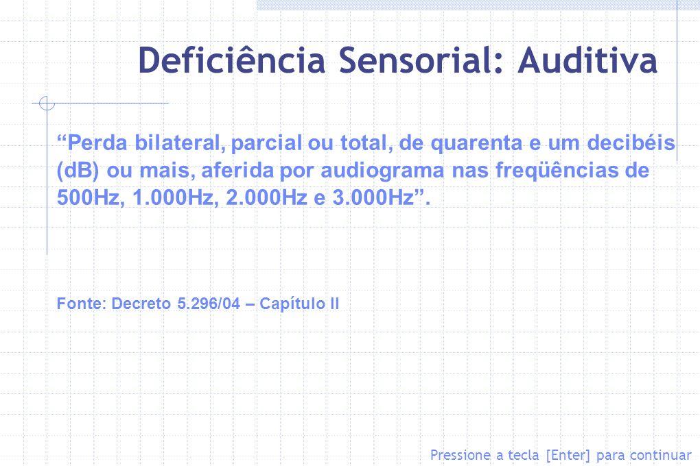 Deficiência Sensorial: Auditiva Perda bilateral, parcial ou total, de quarenta e um decibéis (dB) ou mais, aferida por audiograma nas freqüências de 5