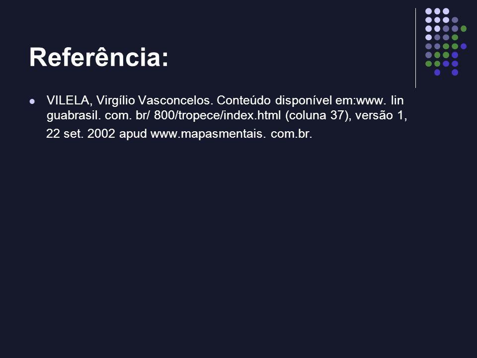 Referência: VILELA, Virgílio Vasconcelos. Conteúdo disponível em:www. lin guabrasil. com. br/ 800/tropece/index.html (coluna 37), versão 1, 22 set. 20