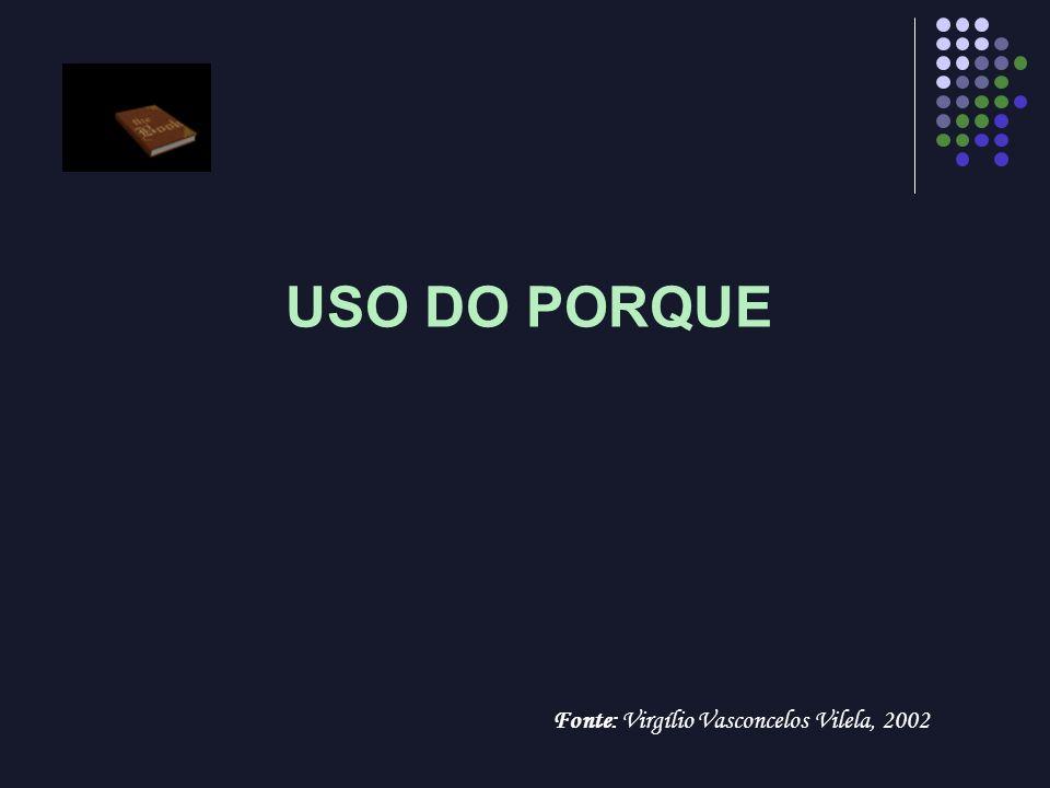 USO DO PORQUE Fonte: Virgílio Vasconcelos Vilela, 2002