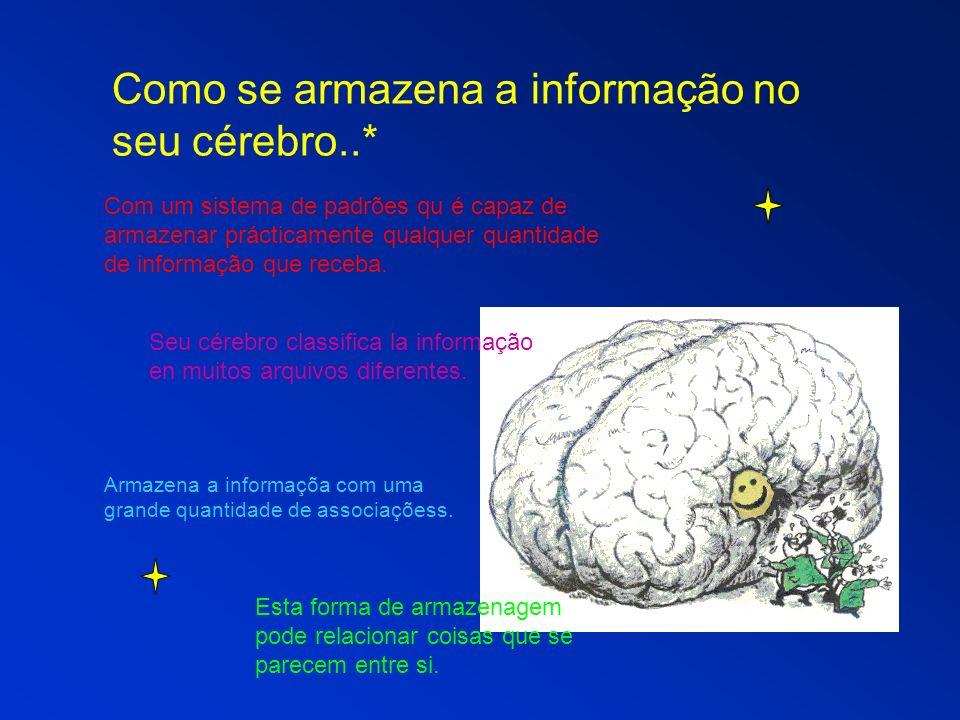 Como se armazena a informação no seu cérebro..* Com um sistema de padrões qu é capaz de armazenar prácticamente qualquer quantidade de informação que receba.