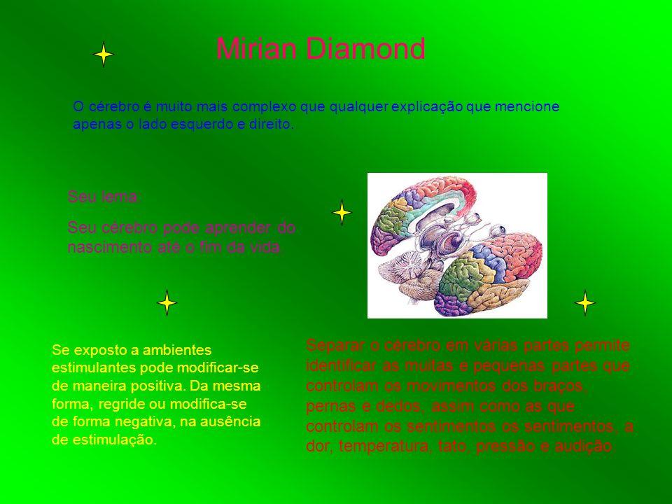 Mirian Diamond O cérebro é muito mais complexo que qualquer explicação que mencione apenas o lado esquerdo e direito. Seu lema: Seu cérebro pode apren