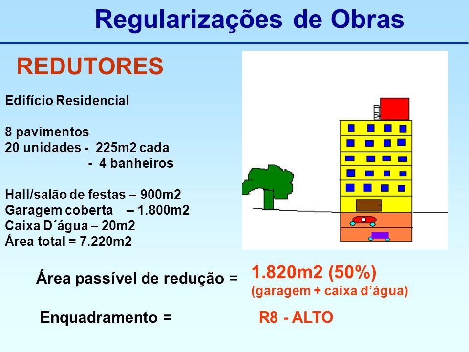 REDUTORES Edifício Residencial 8 pavimentos 20 unidades - 225m2 cada - 4 banheiros Hall/salão de festas – 900m2 Garagem coberta – 1.800m2 Caixa D´água