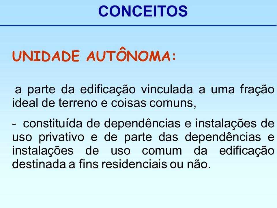 CONCEITOS UNIDADE AUTÔNOMA: a parte da edificação vinculada a uma fração ideal de terreno e coisas comuns, - constituída de dependências e instalações