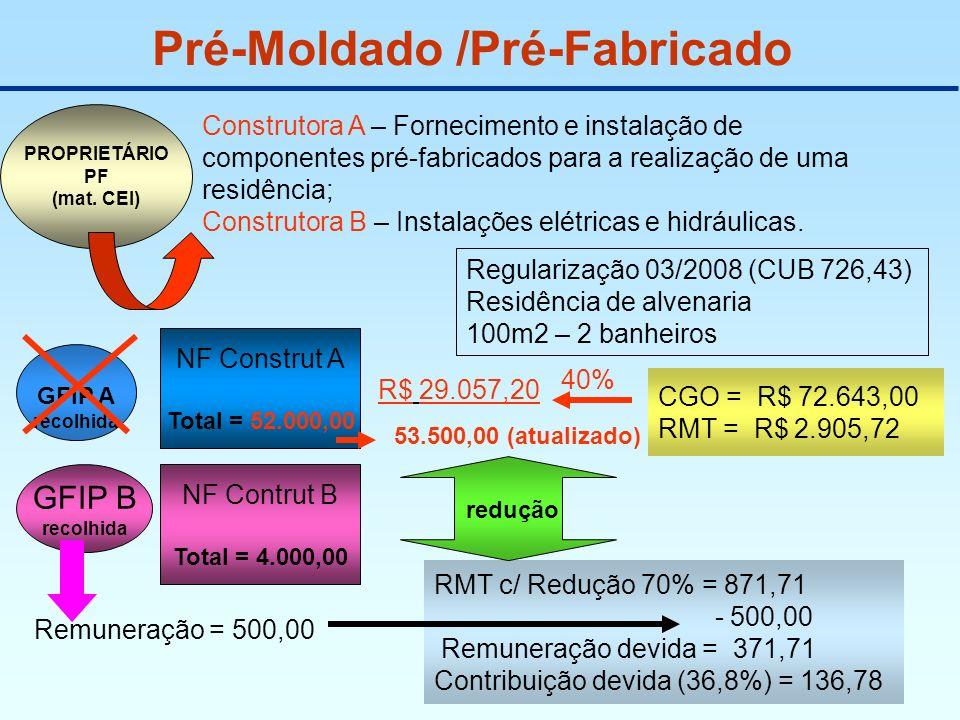 Pré-Moldado /Pré-Fabricado Construtora A – Fornecimento e instalação de componentes pré-fabricados para a realização de uma residência; Construtora B
