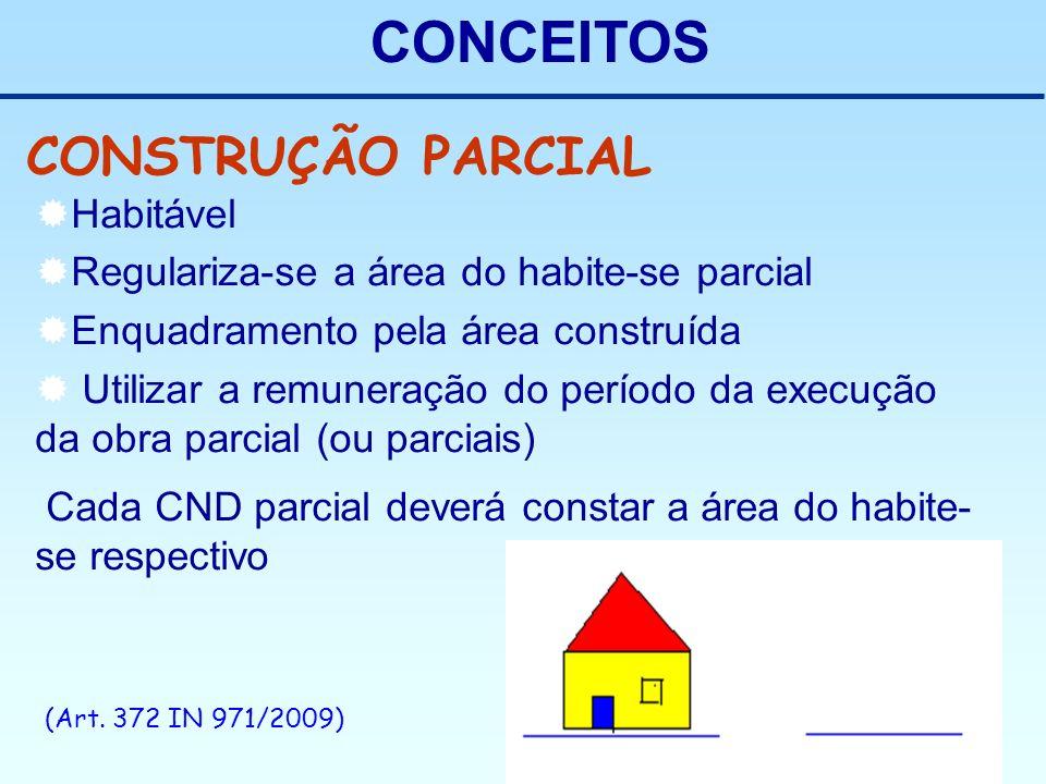 CONCEITOS CONSTRUÇÃO PARCIAL Habitável Regulariza-se a área do habite-se parcial Enquadramento pela área construída Utilizar a remuneração do período